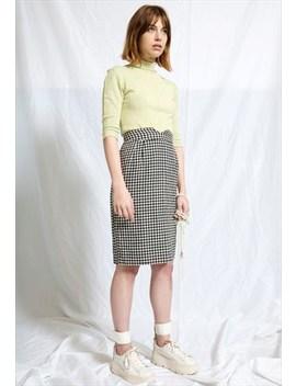 Plaid Monochrome High Waisted Midi Skirt by Glam Slam