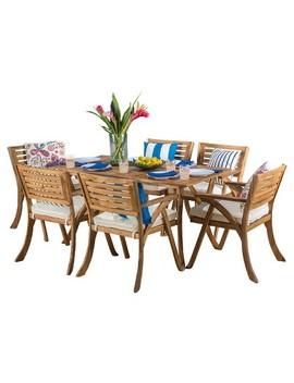 Hermosa 7pc Acacia Dining Set   Teak Finish   Christopher Knight Home by Teak Finish