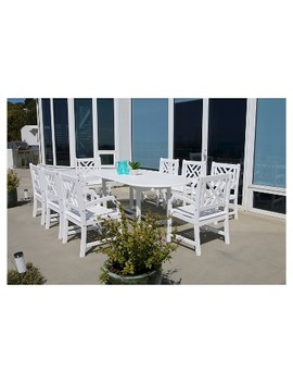 Vifah Bradley Eco Friendly 9 Piece Outdoor White Dining Set With Oval Extension Table And Arm Chairs   White by Friendly 9
