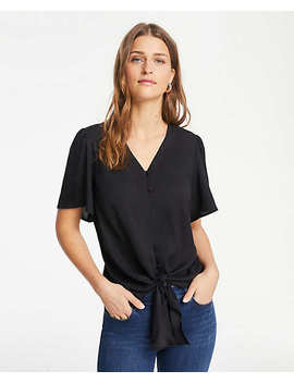 Petite Tie Front Button Top by Ann Taylor