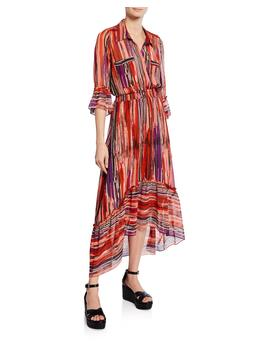 Ofelia Striped Chiffon Long Shirt Dress by Misa Los Angeles