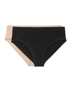 Oleta Set Of Two Stretch Cotton Blend Briefs by Baserange