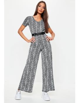 Grey Snake Wide Leg T Shirt Jumpsuit by Missguided