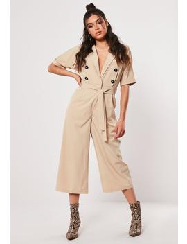 Taupe Wrap Front Culotte Jumpsuit by Missguided