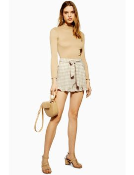 Gingham Frill Shorts With Linen by Topshop
