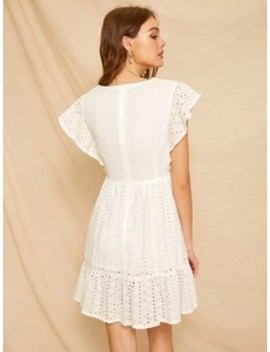 Eyelet Embroidered Ruffle Frill Dress by Sheinside