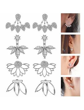 Jieyue Jewelry 4 Pairs Lotus Flower Earrings Stud Jacket Earrings Simple Chic Earrings Back Cuffs Stud Earring Sets For Women Girls by Jieyue Jewelry