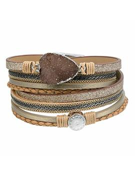 Azora Leather Wrap Bracelet For Women Multi Layer Druzy Stone Cuff Bracelets With Magnet Clasp Gift For Girls by Azora