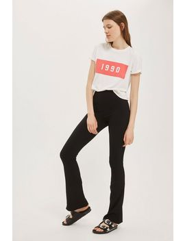 Tall Skinny Ribbed Flared Trousers by Topshop