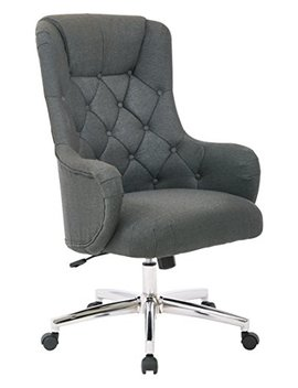 Ave Six Ariel Tufted High Back Desk Chair With Wraparound Arms And Chrome Base, Klein Charcoal by Avenue Six