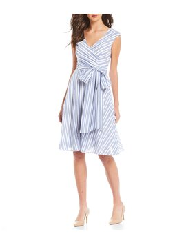 V Neck Sleeveless Stripe Tie Wrap A Line Dress by Calvin Klein
