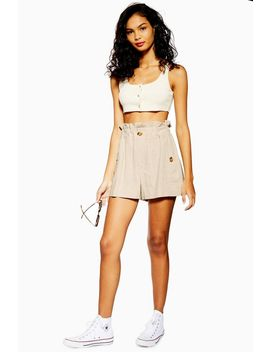 Natural Paperbag Shorts With Linen by Topshop