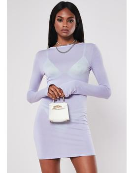 Lilac Thumb Hole Detail Bodycon Mini Dress by Missguided