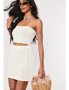 White Co Ord Cable Knit Mini Skirt by Missguided