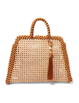 Schultz Tasseled Bead Embellished Wicker Tote by Rosantica