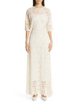 Guipure Lace Long Sheath Dress by Mansur Gavriel
