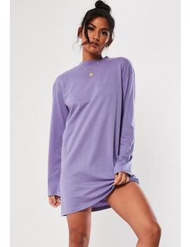 Purple Basic Long Sleeve T Shirt Dress by Missguided