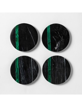 """4"""" 4pk Marble And Malachite Coaster Set Black/Green   Project 62 by Project 62"""