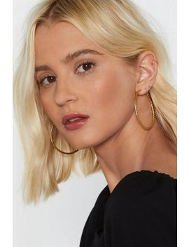 18k Gold Plated Textured Large Hoop Earrings by Nasty Gal