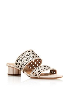 Women's Woven Leather Flower Heel Sandals by Salvatore Ferragamo