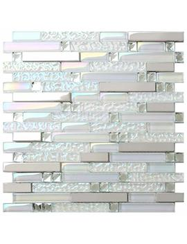 New Design Tst Glass Metal Tile Iridescent White Glass Silver Mirror Stainless Steel Blends Interlocking Strip Wall Tiles Big Sale (1 Sample 12x12 Inches) by Tst Mosaic Tiles