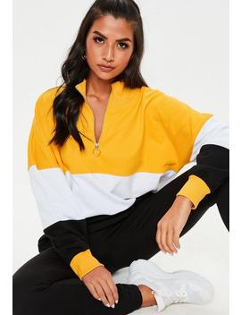 Mustard Colour Block Zip Up Sweatshirt by Missguided