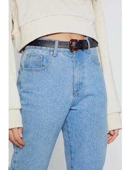 Tort Hard Faux Leather Slim Belt by Nasty Gal