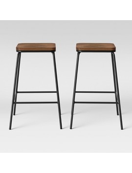 Set Of 2 Rhodes Metal/Wood Barstool Black   Project 62 by Project 62
