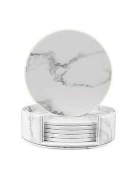 Coasters For Drinks, Round Marble Leather Coasters With Holder Set Of 6 Protect Your Furniture (White Marble, Round) by Hibeer