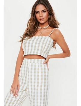 Stone Gingham Strappy Co Ord Crop Top by Missguided