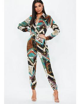 Blue Chain Print Utility Jumpsuit by Missguided