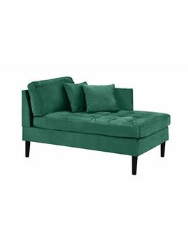 Mid Century Modern Tufted Velvet Chaise Lounge (Green) by Casa Andrea Milano