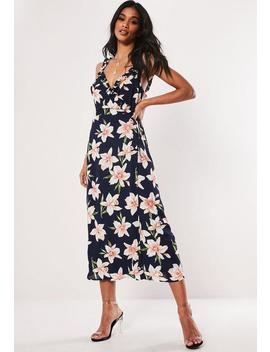 Navy Floral Frill Cami Wrap Midi Dress by Missguided