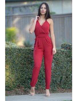 Maybelline Jumpsuit   Burgundy by Fashion Nova