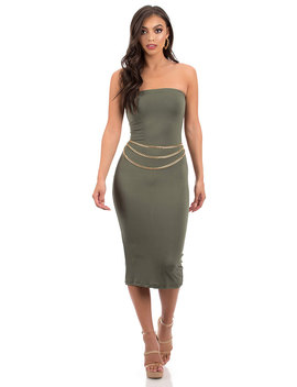 It's Tube Perfect Strapless Midi Dress by Go Jane
