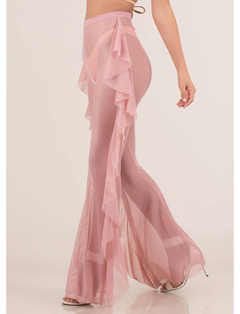 Sheer Coolness Ruffled Mesh Pants by Go Jane