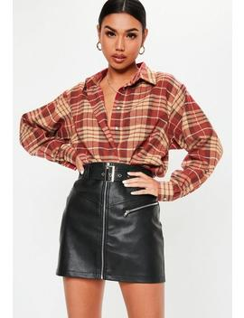 Red Check Button Front Oversized Shirt by Missguided