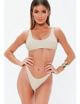 Cream Clasp Shoulder Scoop Neck Bikini Top by Missguided