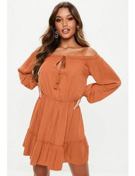 Rust Bardot Tassel Skater Dress by Missguided