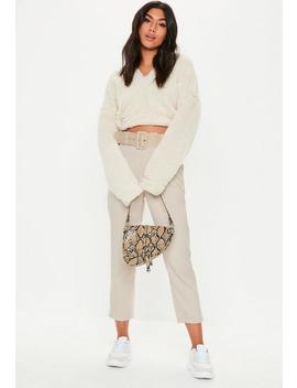 Stone Woven Belted Cigarette Trousers by Missguided