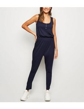 Navy Button Front Jersey Jumpsuit by New Look