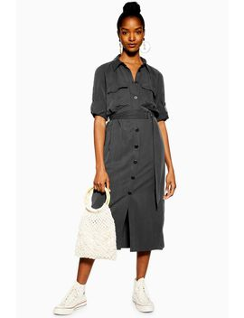 Black Utility Midi Shirt Dress by Topshop