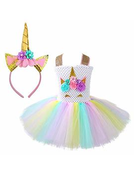 Unicorn Costume For Girls Dress Up Clothes For Little Girls Rainbow Unicorn Tutu With Headband Birthday Gift by Rainbow Estrella