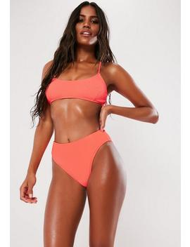 Neon Peach Crinkle High Waisted High Leg Bikini Bottoms by Missguided