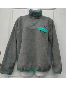 Patagonia Women's Synchilla Snap  T Fleece M Pullover Gray & Teal Snap Buttons by Patagonia