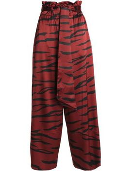Zebra Print Silk Blend Satin Wide Leg Pants by Ganni