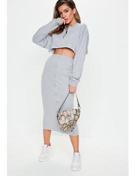 Grey Ribbed Button Front Split Midi Skirt by Missguided