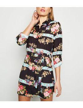 Parisian Black Floral Panel Shirt Dress by New Look