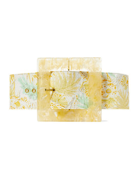 Simone Oversized Printed Linen And Marbled Acrylic Belt by Cult Gaia