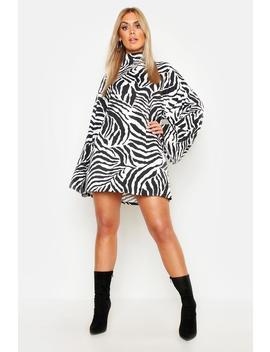 Plus Tiger Wide Rib Oversized Jumper Dress by Boohoo